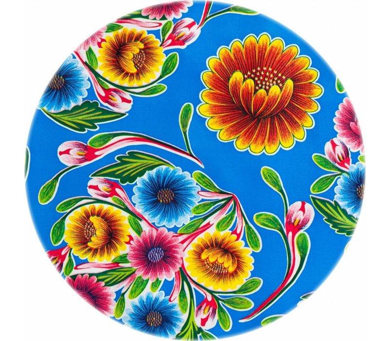 Rond tafelzeil 120cm Floral blauw