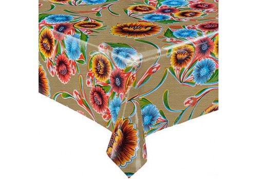 MixMamas Tafelzeil Floral - 120 x 300 cm - Goud