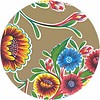 MixMamas Tafelzeil Rond - Ø 120 cm - Bloom / Floral - Goud