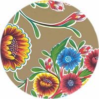 Rond tafelzeil 120cm Floral goud