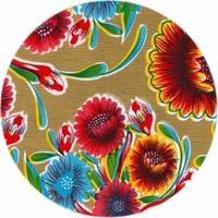 Tafelzeil Rond - Ø 120 cm - Bloom / Floral - Goud