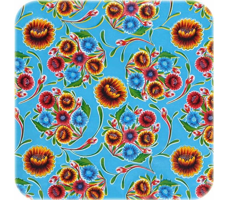 Mexicaans tafelzeil 2m bij 1.20m, Floral lichtblauw