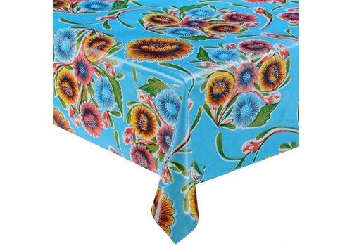 MixMamas Tafelzeil Floral - 120 x 300 cm - Lichtblauw