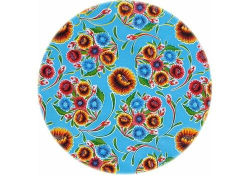 MixMamas Tafelzeil Rond - Ø 120 cm - Floral - Lichtblauw
