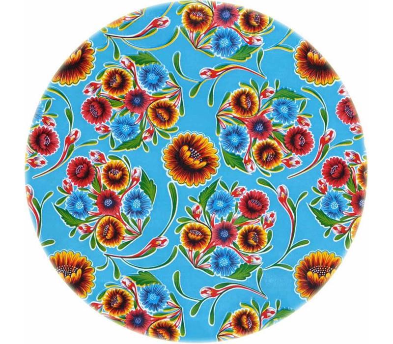 Rond tafelzeil 120cm Floral lichtblauw
