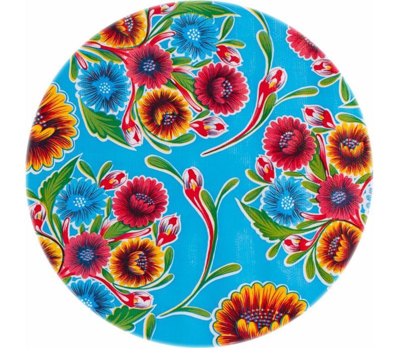 Tafelzeil Rond - Ø 120 cm - Bloom / Floral - Lichtblauw