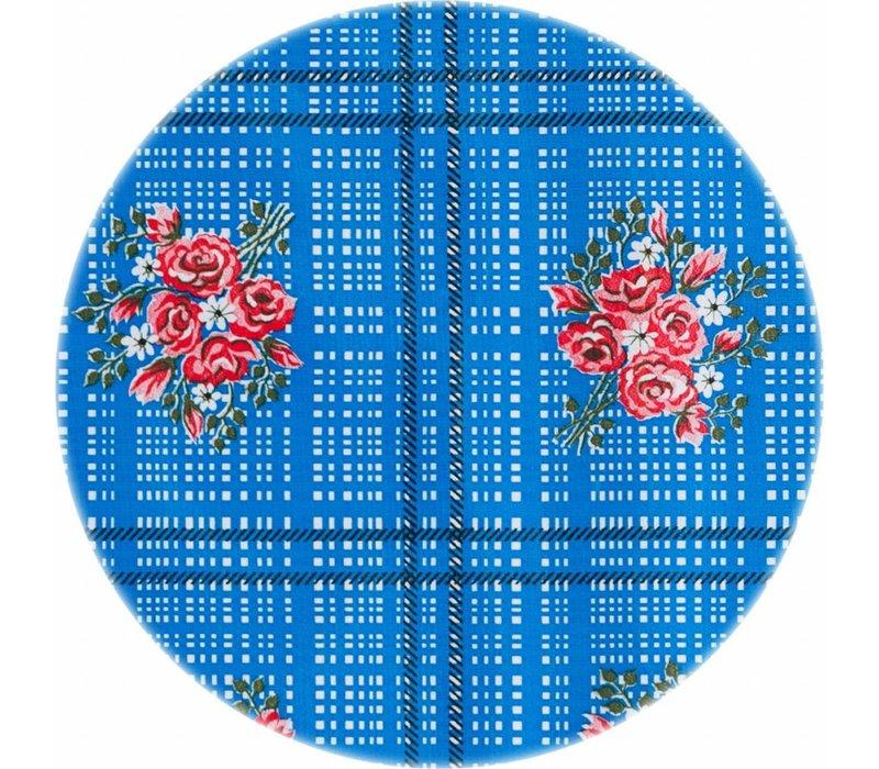 Mexicaans Tafelzeil Rond - Ø 120 cm - Boeketje - Blauw