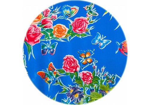 MixMamas Tafelzeil Rond - Ø 120 cm - Vlinder - Blauw