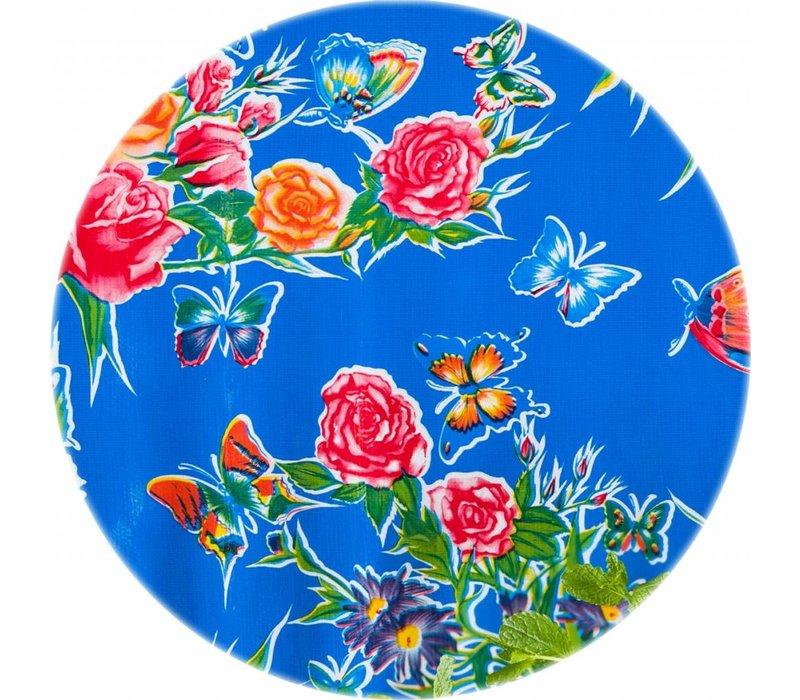 Rond tafelzeil 120cm vlinder blauw