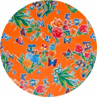 Rond tafelzeil 120cm vlinder oranje