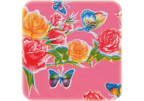 MixMamas Tafelzeil Vlinder - 120 x 300 cm - Roze