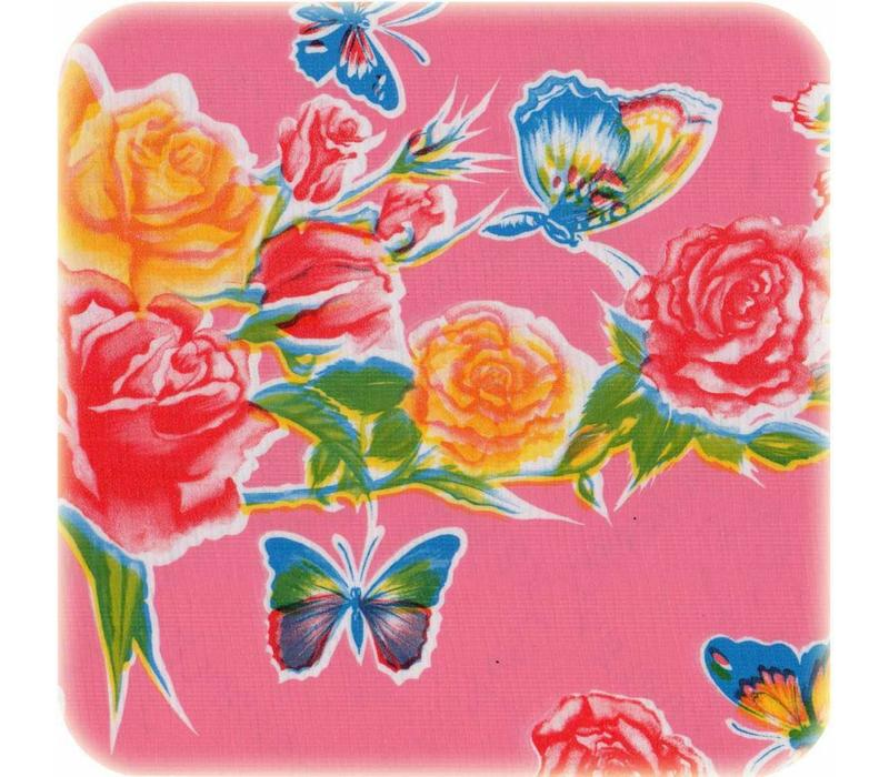 Mexicaans Tafelzeil 3m bij 1,20m Vlinder rose