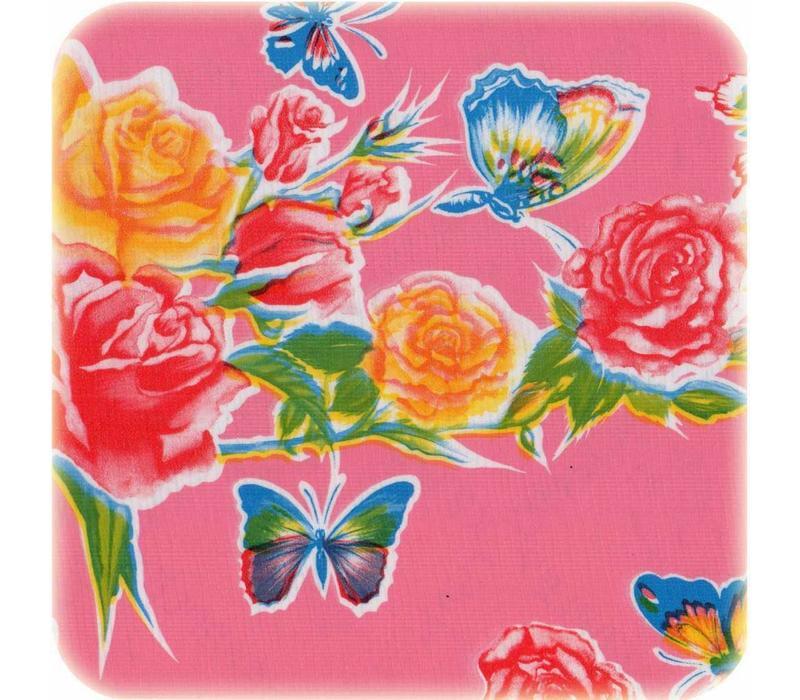 Mexicaans Tafelzeil Vlinder - 120 x 300 cm - Roze