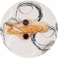 Gecoat rond tafelkleed met bies Painted Circles 140cm