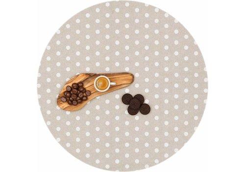 MixMamas Rond Gecoat tafelkleed Stippen beige-wit 180cm
