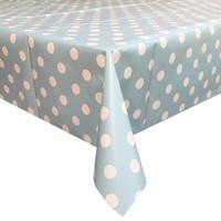 Europees Eco tafelzeil Rol 20m lichtblauw-wit grote stip 140cm