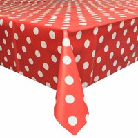 Tafelzeil Grote Stip - Rol - 140 cm x 20 m - Rood/Wit