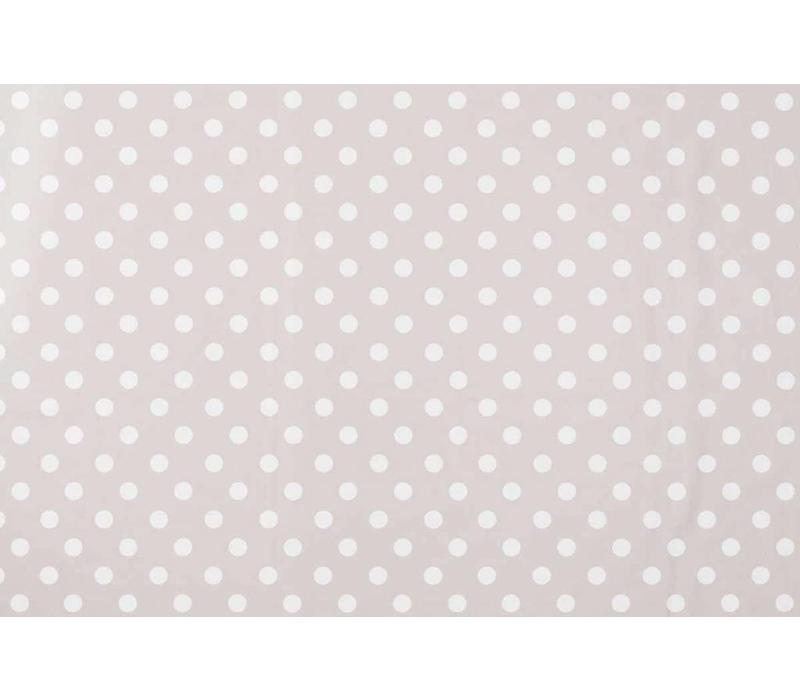 Tafelzeil Grote Stip - Rol - 140 cm x 20 m - Taupe/Wit