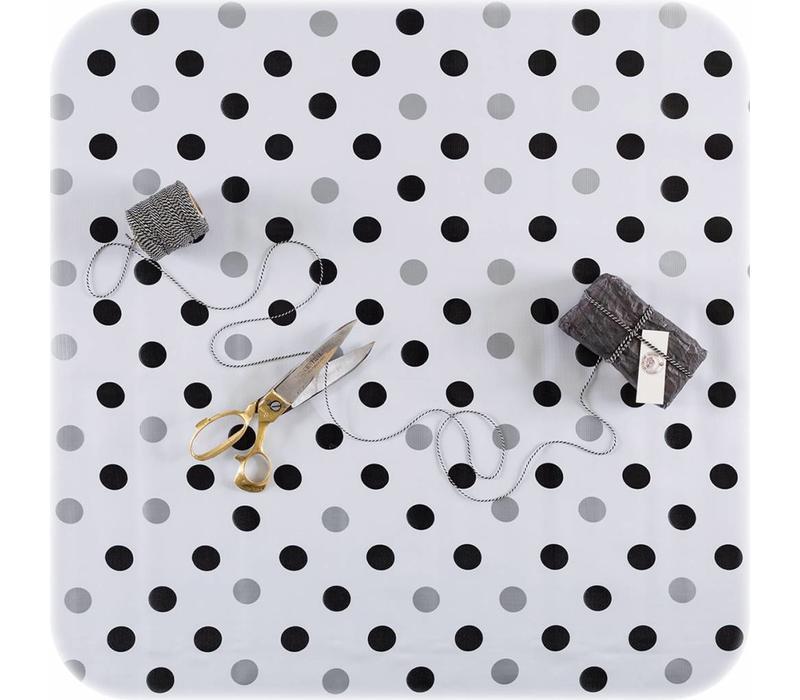 Mexciaans Tafelzeil 2,5m bij 1,20m Confetti zwart-zilver