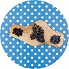 MixMamas Europees Eco tafelzeil blauw-wit grote stip rond 140cm