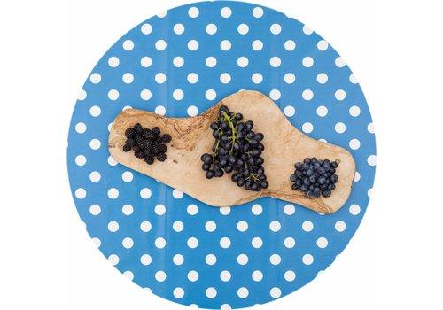 MixMamas Tafelzeil Rond - Ø 140 cm - Grote Stip - Blauw/Wit
