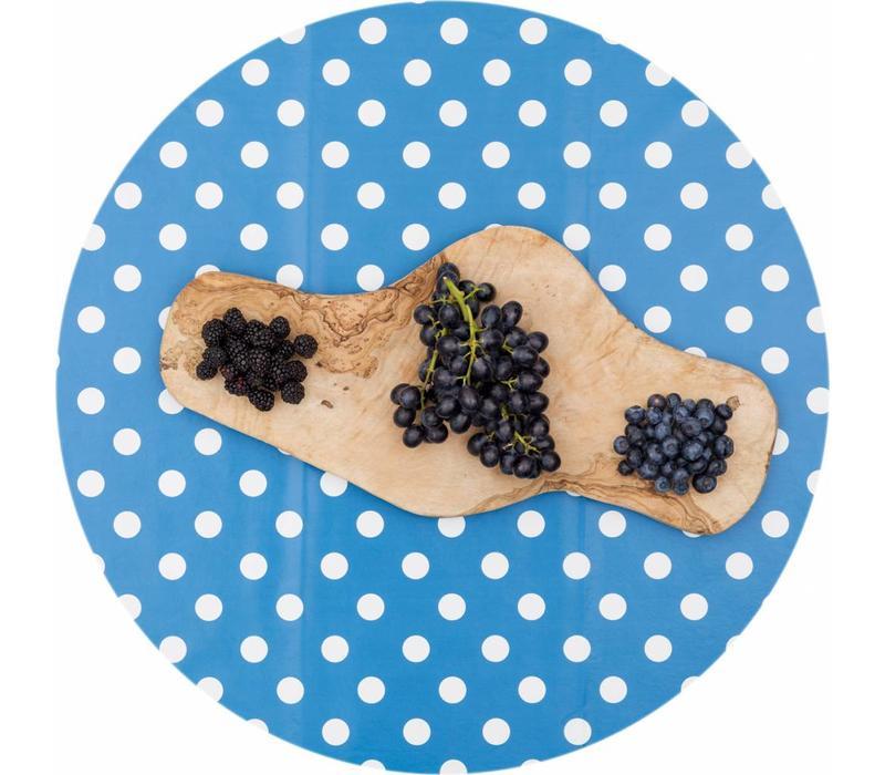 Europees Eco tafelzeil blauw-wit grote stip rond 140cm