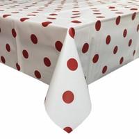 Tafelzeil Rond - Ø 140 cm - Grote Stip - Wit/Rood