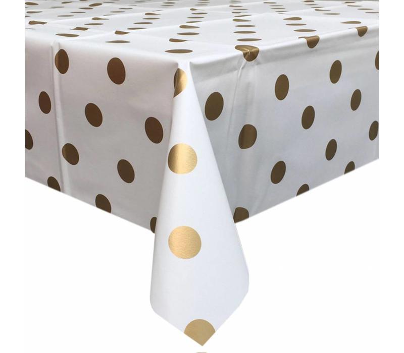 Europees Eco tafelzeil Wit met gouden stippen rond 140cm