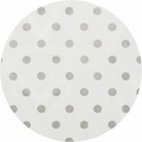 Tafelzeil Rond - Ø 140 cm - Grote Stip - Wit/Zilver