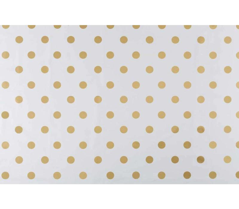 Tafelzeil Grote Stip - 140 x 250 cm - Wit/Goud