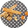 MixMamas Europees Eco tafelzeil Rond grijs met witte stippen 140cm