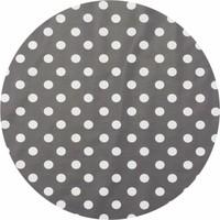 Europees Eco tafelzeil Rond grijs met witte stippen 140cm