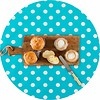 MixMamas Europees Eco tafelzeil Rond turquoise met witte stippen 140cm