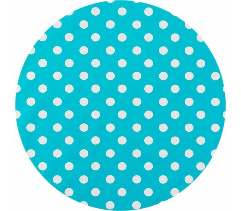 Europees Eco tafelzeil Rond turquoise met witte stippen 140cm