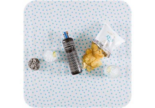 MixMamas Tafelzeil op rol Wit met lichtblauwe stippen
