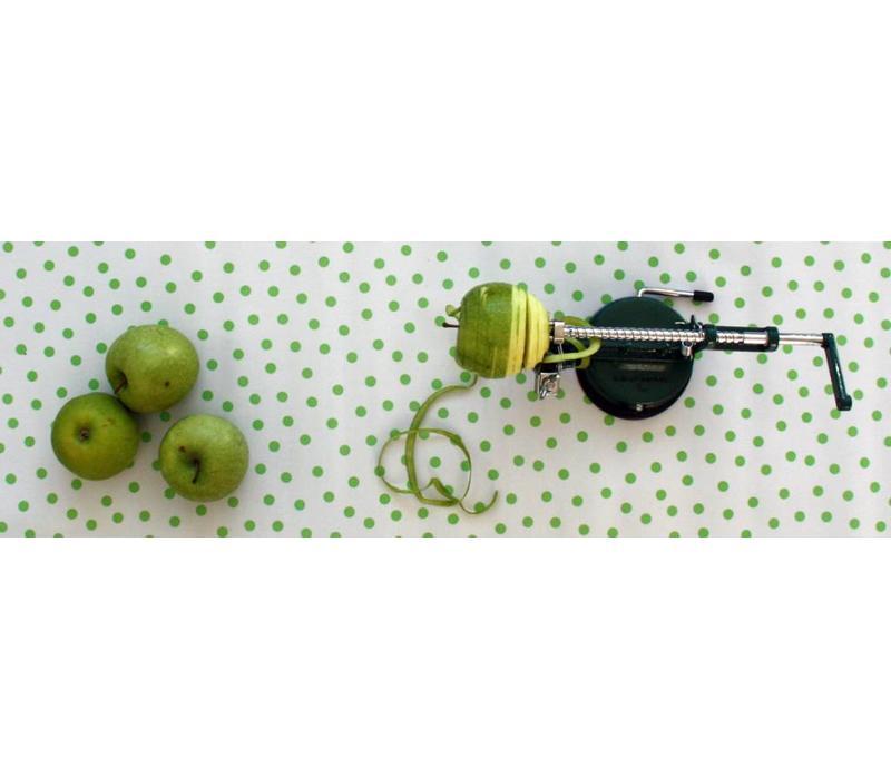 Mexicaans tafelzeil op rol 11m Wit met lime groene stippen