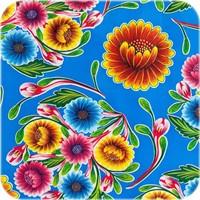 Mexicaans Tafelzeil Gebloemd Floral - Rol - 120 cm x 11 m - Blauw