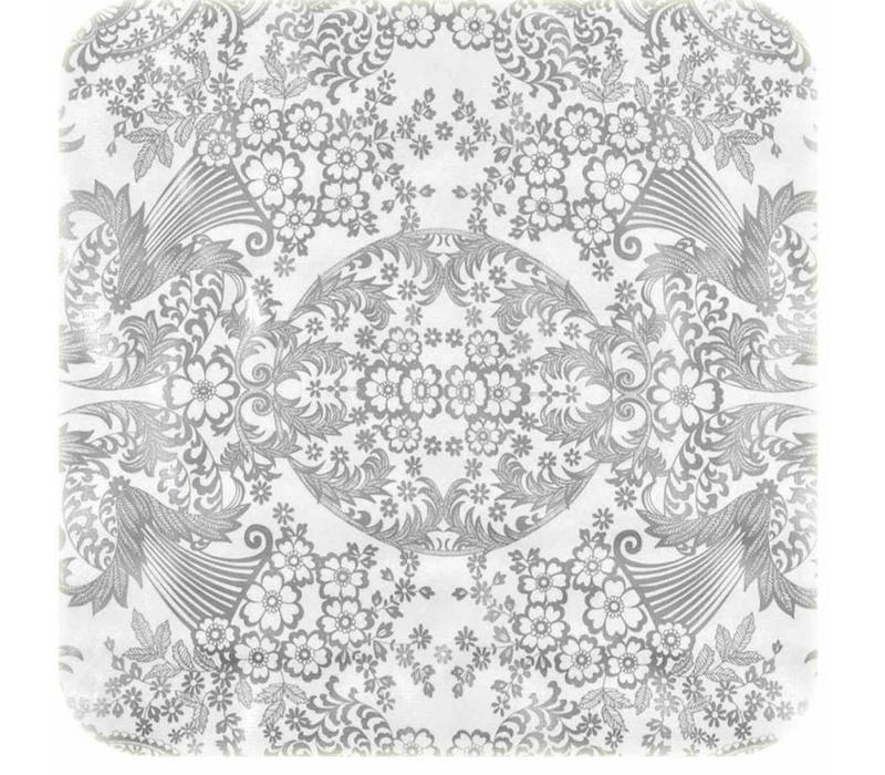 Tafelzeil Paraiso / Barok Vierkant - 120 x 120 cm - Zilver