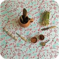 Mexicaans Tafelzeil vierkant 1,20m bij 1,20m Kersenbloesem mintgroen