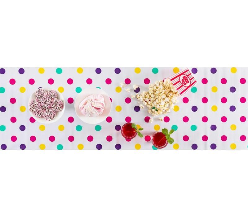 Mexicaans tafelzeil op rol Confetti rose 11m x 1,20m