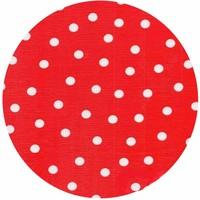 Rond tafelzeil 120cm rood met witte stippen SALE