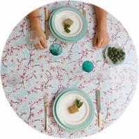 Rond tafelzeil 120cm kersenbloesem mintgroen rond