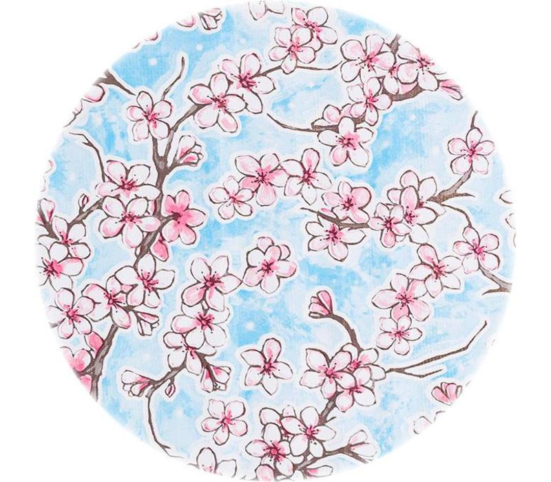 Tafelzeil Rond - Ø 120 cm - Kersenbloesem - Lichtblauw