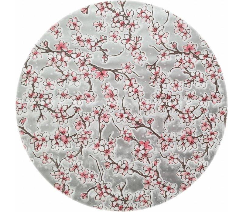 Rond tafelzeil 120cm kersenbloesem zilver
