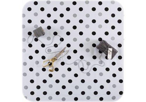 MixMamas Tafelzeil op rol streep confetti zwart-zilver