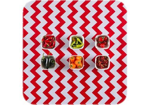 MixMamas Tafelzeil op rol Zigzag rood rol 11m x 1,20m