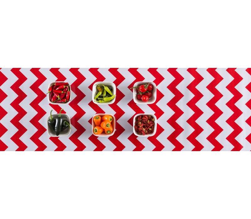 Mexicaans tafelzeil op rol Zigzag rood 11m x 1,20m