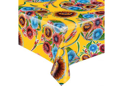 MixMamas Tafelzeil Floral - 120 x 300 cm - Geel