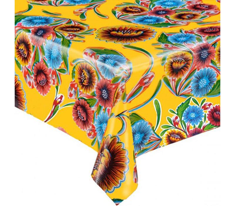 Mexicaans Tafelzeil 3m bij 1,20m Floral, bloom geel