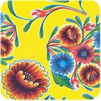Tafelzeil Bloom / Floral - 120 x 300 cm - Geel